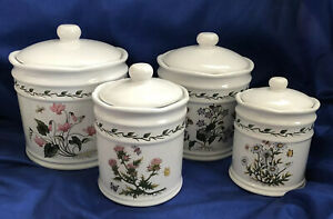 Lillian Vernon Botanical Flowers Kitchen Counter Canisters Crocks Set of 4