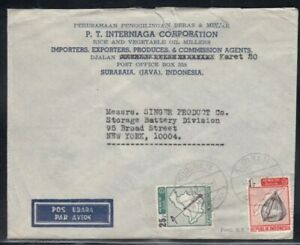 INDONESIA Commercial Cover Surabaia to New York City 4-2-1968 Cancel
