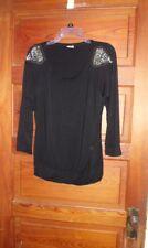 eVogues Black Knit 3/4 Sleeved Top with Studded Shoulder Trim Size 2X