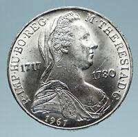 1967 AUSTRIA with QUEEN MARIA THERESA Antique Silver 25 Schilling Coin i83140