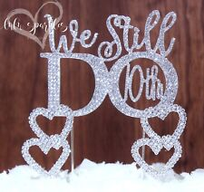 10th Wedding Anniversary Vow Renewal Cake Topper with 2 Rhinestone Hearts