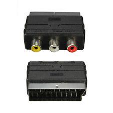 NUOVO Spina SCART RGB maschio a 3 RCA DONNA A/V Convertitore Adattatore Per TV DVD VCR UK
