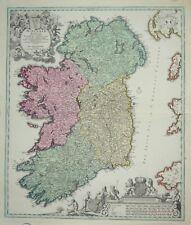 IRELAND - HIBERNIAE REGNUM BY J. B. HOMANN. CIRCA 1730