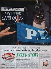 PUBLICITÉ 1966 RON-RON AVEC WALT DISNET ET PATTES DE VELOURS - CHAT -ADVERTISING