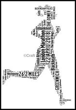 PERSONALISED LONDON MARATHON 2018 ART Picture RUNNER FEMALE LADY WOMAN GIRL GIFT