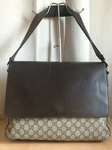 Gucci PVC GG Monogram & Brown Leather Crossbody Shoulder Bag
