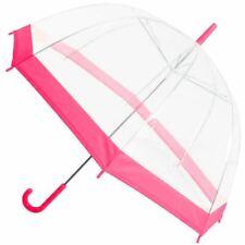 Clear See Through Transparent Dome Bubble Parasol Birdcage Umbrella ~ Pink