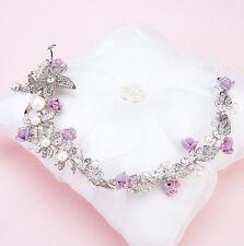 Demoiselle D'honneur Mariée Mariage Autrichien Cristal Violet/Lilas & silver hair Tiara vigne