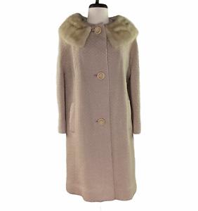 Vintage Betty Rose Beige Fur Collar Boucle Wool Swing Coat Womens S/M