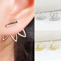 Fashion Women Lady Punk Lotus Flower Earrings Ear Hook Stud Jewelry Gift