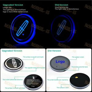 For Lincoln Colorful LED Car Cup Holder Pad Mat Interior Atmosphere Lights 2PCS