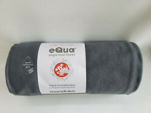"Manduka Yoga Mat Towel, eQua, 72"" x 26.5"", GREY THUNDER 72, Gray NWT"