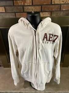 Vintage American Eagle Outfitters Cream Hooded Sweatshirt Mens Large Distressed