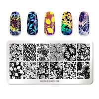 NICOLE DIARY Stamping Plates Rectangle Flower Pattern Nail Image Stamp Templates