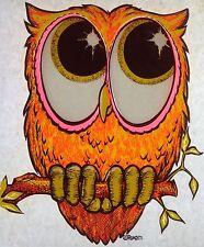 Vintage 1971 Day-Glo RoAcH Big Eyed Owl Iron-On Transfer RARE!