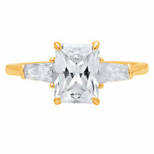 2.2ct Emerald Baguette Cut Engagement Bridal Wedding 3Stone Ring 14K Yellow Gold