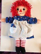 "Vintage Raggedy Ann Playskool Doll 12"" 1987 Heart I Love You Blue Dress"