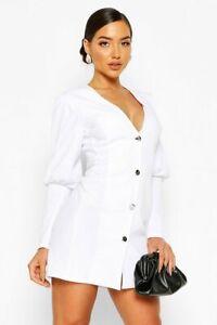 BOOHOO LADIES PUFF SLEEVE EXTREME CUFF PLUNGE BUTTON BLAZER DRESS WHITE NEW (265