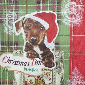 4 Lunch Paper Napkins Serviettes Decoupage Napkins Happy Christmas- Dog with...