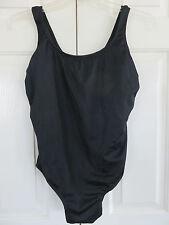 Catalina 1- Piece Black Tank Style Swimsuit Ribbed pattern Sz XL (16-18) NWT
