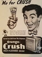 1947 Orange Crush Soda dispenser me for Crush Glass ad