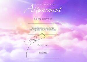 12 x Blank Angelic Reiki & Attunements Spiritual Certificates, Quality A4Card