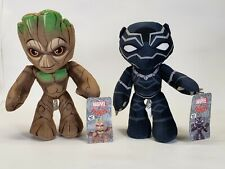"""Lot Of 2 Marvel Comics Poseable Flexers Stuffed Plush Toy Groot Black Panther 9"""""""