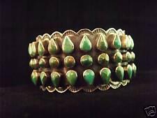 Wide 3 Row Turquoise Bracelet - Navajo Handmade
