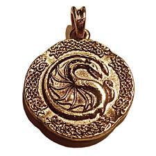 Antique German Jewelry Larp Dragon 24ct Pendant Vintage