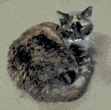 BN original cross stitch  chart of a tortoiseshell  cat 6