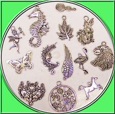 15 Metallanhänger verschiedene Motive 15 - 40 mm nickelfrei silber antik Ketten