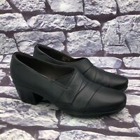 Clarks Collections Women's Black Leather Block Heel Ankle Booties Size 10 M