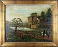 """Ancien Tableau """"Paysage Animé"""" Peinture Huile Antique Oil Painting"""
