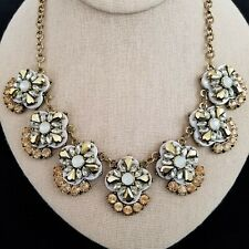 "Rhinestone Statement Necklace~Chunky~ Antique Gold Finish~19"""