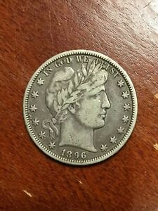 1896 O BARBER HALF DOLLAR VF VERY SCARCE DATE TOUGH TO FIND THIS NICE