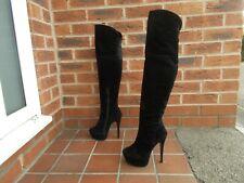 Usado.. pero Sexy Negro Terciopelo sobre la rodilla alto del muslo botas de plataforma talla 3 * * Goth