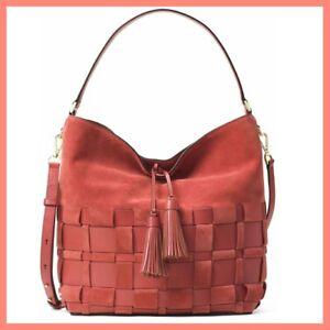 NWT MICHAEL KORS Vivian Large Hobo Bag Woven Suede & Leather Color Cinnamon