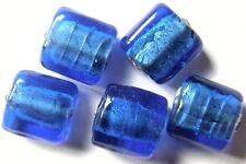 13 SILBERFOLIE GLASPERLEN QUADRATE 10 MM BLAU Q5-05