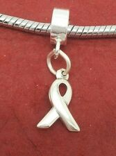 Sterling Silver cancer awareness Charm fit Bracelet 925 Ribbon European jewelry