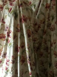 Laura Ashley Gosford Cranberry curtains and tie backs 86 x 88 inches