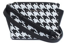 MICHAEL KORS Black White Houndstooth Saffiano Leather Selma Mini Messenger Bag