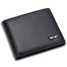 MINI Cooper Black Bifold Wallet Genuine Calfskin Leather with 6 Credit Card Men