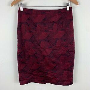 Dianna Ferrari Womens Skirt 6 Maroon Straight Zip Closure Exclusive Print