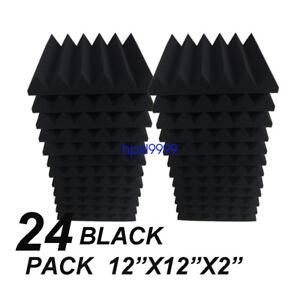 "24 Pack 2""x12""x12""  Black Acoustic Wedge Soundproofing Studio Foam Tiles"