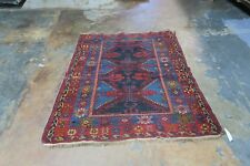 Antique Caucasian Shirvan Rug  Wool Hand Knotted Kazak  3'-9 x 4'-8