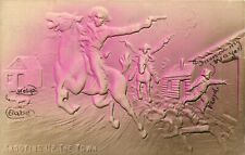 Embossed Airbrush Postcard; Western Cowboys w Horses & Guns Shooting up the Town
