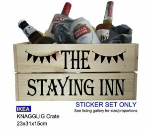 Crate Box Stickers | DECAL ONLY for Wooden Crate/Box/Hamper - THE STAYING INN