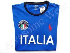 New Ralph Lauren Polo Pony Logo Custom Fit 100% Cotton Blue Italy T Shirt Slim L
