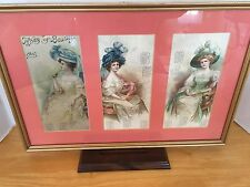 """Framed And Matted Antique Calendar From 1910 """"Types of Beauty"""""""