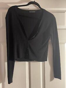 brandy melville long sleeve ribbed button down crop top sweater john galt